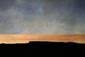 Werner Schaub - Wegweiser 2009 - Öl, Teer auf Holz, Gravur - 50 x 70cm